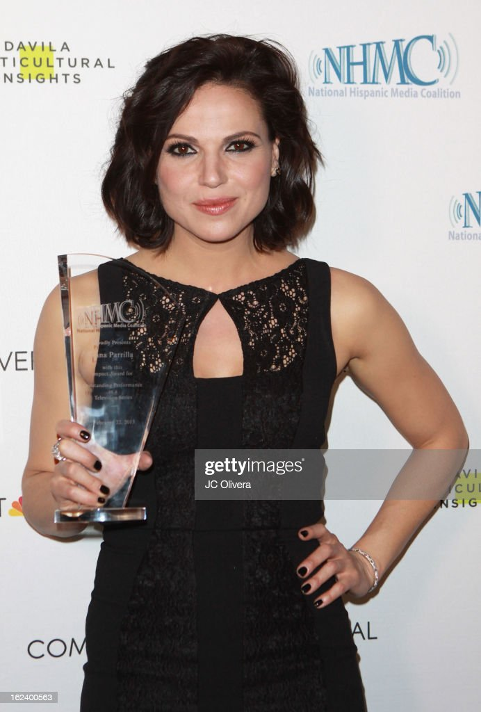Actress <a gi-track='captionPersonalityLinkClicked' href=/galleries/search?phrase=Lana+Parrilla&family=editorial&specificpeople=2303014 ng-click='$event.stopPropagation()'>Lana Parrilla</a> poses with her Outstanding Performance in a Television Series Award during The National Hispanic Media Coalition's 16th Annual Impact Awards Gala at the Beverly Wilshire Four Seasons Hotel on February 22, 2013 in Beverly Hills, California.