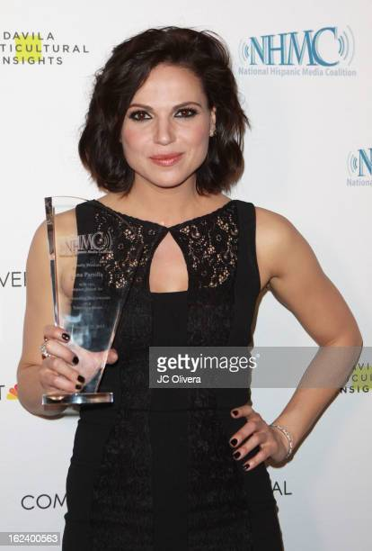 Actress Lana Parrilla poses with her Outstanding Performance in a Television Series Award during The National Hispanic Media Coalition's 16th Annual...