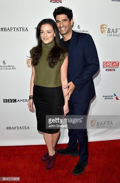 Actress Lara Pulver and actor Raza Jaffrey attend the BAFTA Awards Season Tea Party at Four Seasons Hotel Los Angeles at Beverly Hills on January 9...
