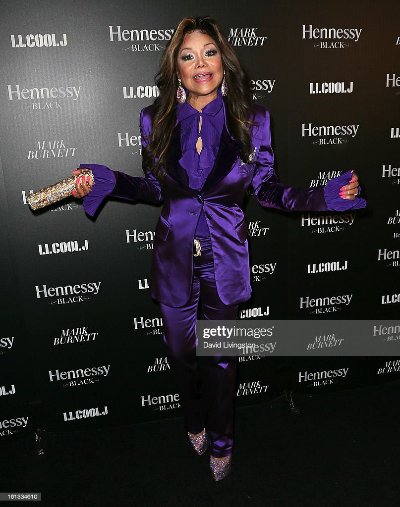 Actress LaToya Jackson attends the Hennessy Toasts Achievements In Music event with GRAMMY Host LL Cool J and Mark Burnett at The Bazaar at the SLS Hotel Beverly Hills on February 9, 2013 in Los Angeles, California.