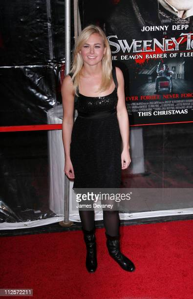 Actress Laura Bell Bundy attends the premiere of 'Sweeney Todd The Demon Barber of Fleet Street' at the Ziegfeld Theater on December 3 2007 in New...