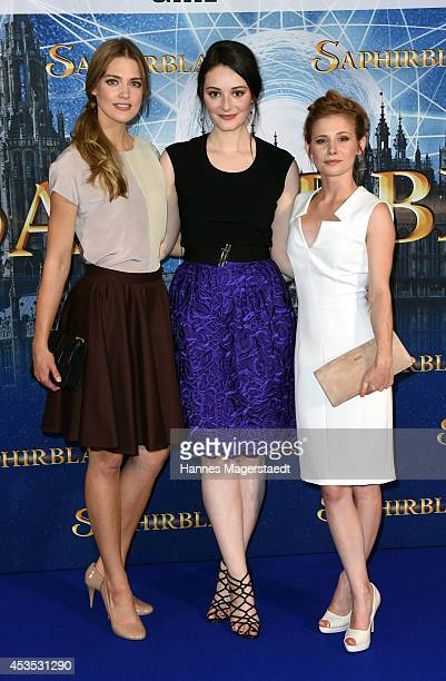 Actress Laura Berlin Maria Ehrich and Josefine Preuss attend the Munich premiere of the film 'Saphirblau' at Mathaeser Filmpalast on August 12 2014...