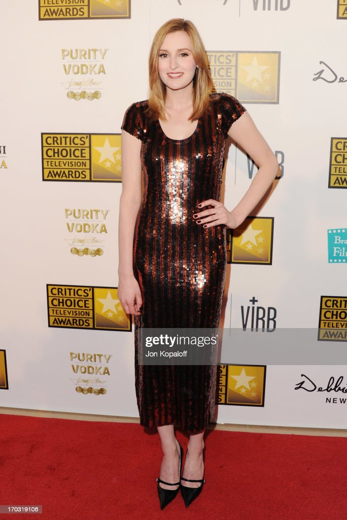 Actress <a gi-track='captionPersonalityLinkClicked' href=/galleries/search?phrase=Laura+Carmichael&family=editorial&specificpeople=7201392 ng-click='$event.stopPropagation()'>Laura Carmichael</a> arrives at the BTJA Critics' Choice Television Award at The Beverly Hilton Hotel on June 10, 2013 in Beverly Hills, California.