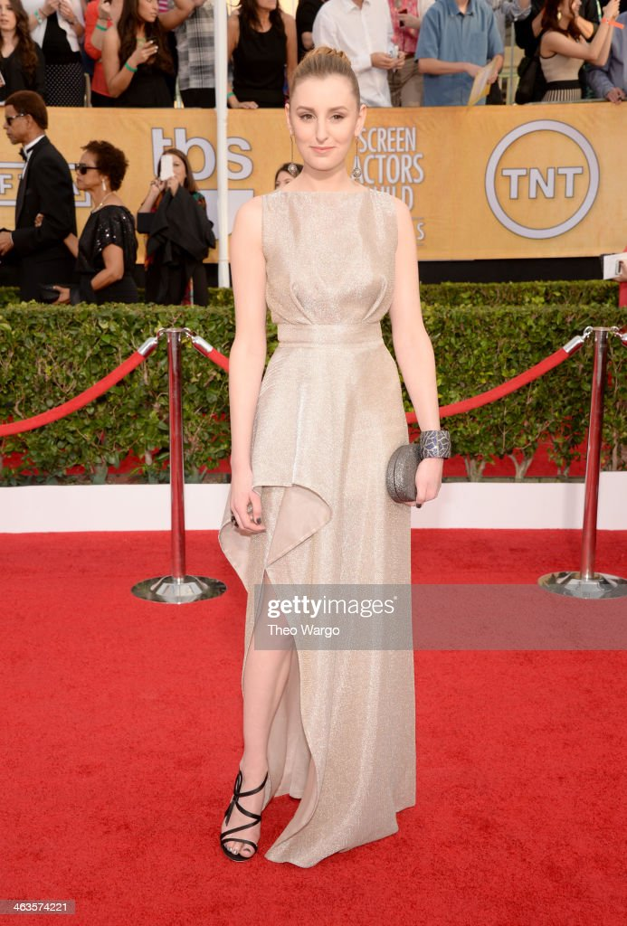 Actress <a gi-track='captionPersonalityLinkClicked' href=/galleries/search?phrase=Laura+Carmichael&family=editorial&specificpeople=7201392 ng-click='$event.stopPropagation()'>Laura Carmichael</a> attends 20th Annual Screen Actors Guild Awards at The Shrine Auditorium on January 18, 2014 in Los Angeles, California.
