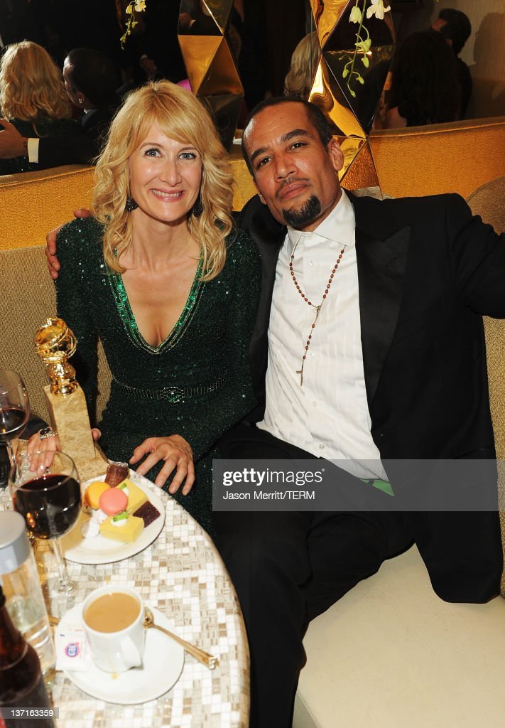 Actress Laura Dern and musician Ben Harper attend HBO's Post 2012 Golden Globe Awards Party at Circa 55 Restaurant on January 15 2012 in Beverly...