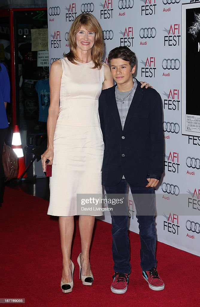 Actress <a gi-track='captionPersonalityLinkClicked' href=/galleries/search?phrase=Laura+Dern&family=editorial&specificpeople=204203 ng-click='$event.stopPropagation()'>Laura Dern</a> (L) and son Ellery Harper attend the AFI FEST 2013 presented by Audi screening of 'Nebraska' at the TCL Chinese Theatre on November 11, 2013 in Hollywood, California.
