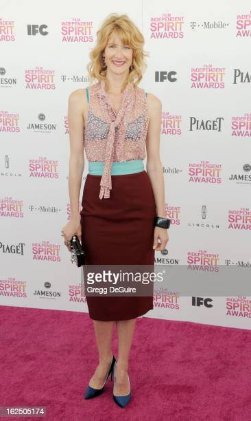 Actress Laura Dern arrives at the 2013 Film Independent Spirit Awards at Santa Monica Beach on February 23 2013 in Santa Monica California