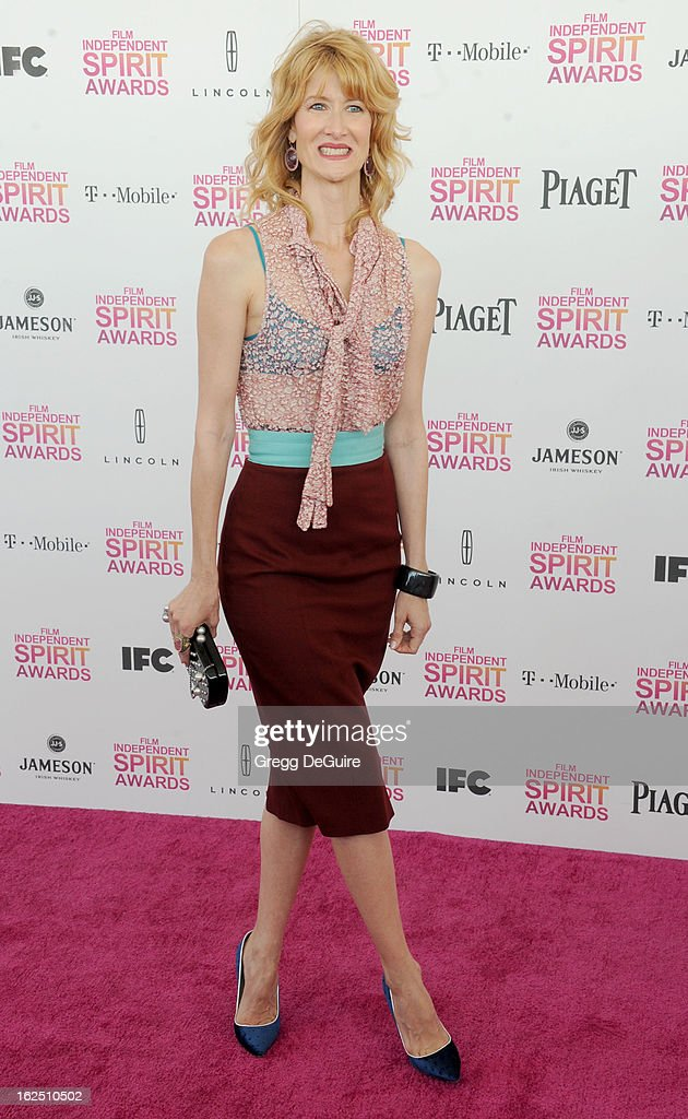 Actress Laura Dern arrives at the 2013 Film Independent Spirit Awards at Santa Monica Beach on February 23, 2013 in Santa Monica, California.