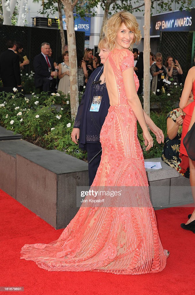 Actress <a gi-track='captionPersonalityLinkClicked' href=/galleries/search?phrase=Laura+Dern&family=editorial&specificpeople=204203 ng-click='$event.stopPropagation()'>Laura Dern</a> arrives at the 65th Annual Primetime Emmy Awards at Nokia Theatre L.A. Live on September 22, 2013 in Los Angeles, California.