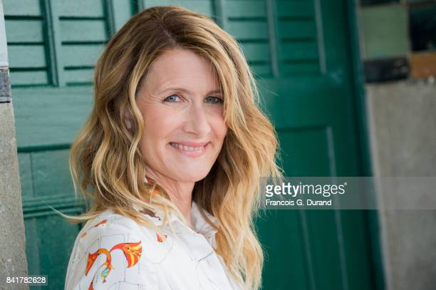 US actress Laura Dern poses in front of her dedicated beach locker room on the Promenade des Planches during the 43rd Deauville American Film...