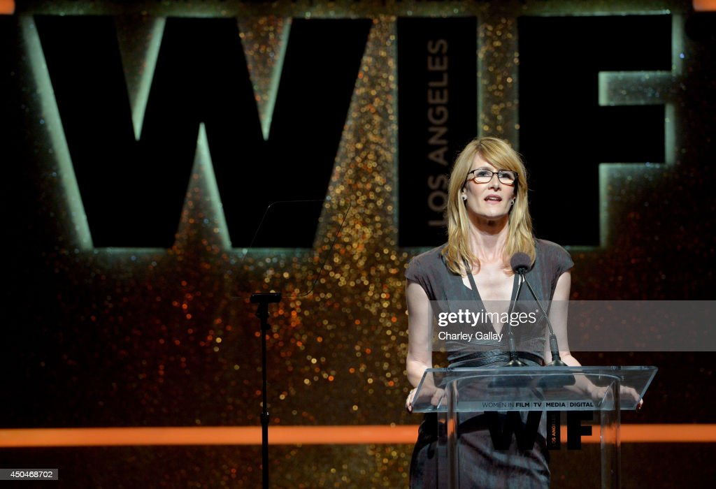 Actress <a gi-track='captionPersonalityLinkClicked' href=/galleries/search?phrase=Laura+Dern&family=editorial&specificpeople=204203 ng-click='$event.stopPropagation()'>Laura Dern</a> speaks onstage at Women In Film 2014 Crystal + Lucy Awards presented by MaxMara, BMW, Perrier-Jouet and South Coast Plaza held at the Hyatt Regency Century Plaza on June 11, 2014 in Los Angeles, California.