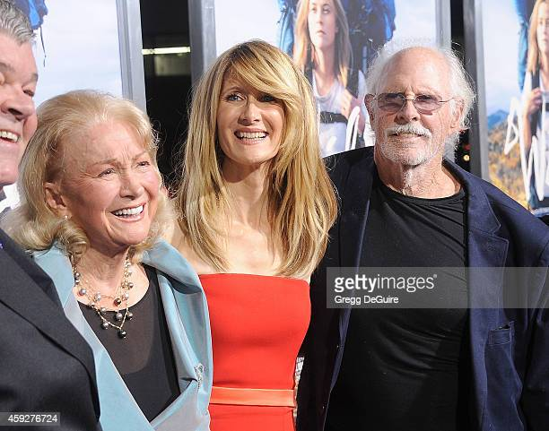 Actress Laura Dern with mom Diane Ladd and dad Bruce Dern arrive at the Los Angeles premiere of 'Wild' at AMPAS Samuel Goldwyn Theater on November 19...
