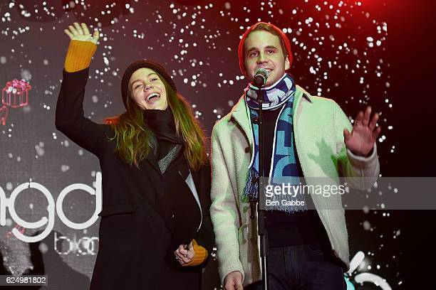 Actress Laura Dreyfuss and actor Ben Platt perform during the 2016 Bloomingdale's Holiday Window Unveiling at Bloomingdale's on November 21 2016 in...