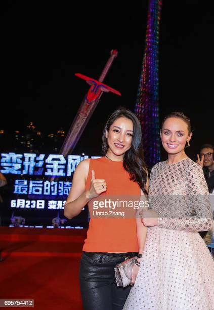Actress Laura Haddock and Actress Jane Wu attends the 'Transformers The Last Knight' China World Premiere and Ten Year Anniversary Celebration at...
