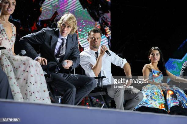 Actress Laura Haddock Director and Executive Producer Michael Bay Actor Josh Duhamel and Actress Isabela Moner attend the 'Transformers The Last...