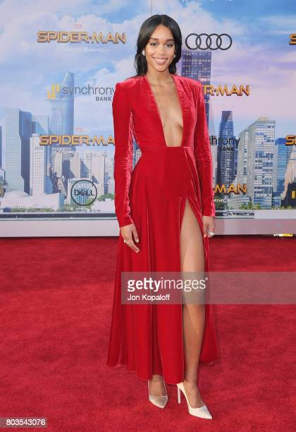 Actress Laura Harrier arrives at the Los Angeles Premiere 'SpiderMan Homecoming' at TCL Chinese Theatre on June 28 2017 in Hollywood California
