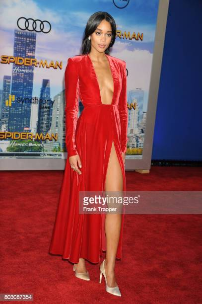 Actress Laura Harrier attends the premiere of Columbia Pictures' 'SpiderMan Homecoming' held at TCL Chinese Theatre on June 28 2017 in Hollywood...