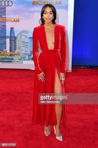 Actress Laura Harrier attends the premiere of Columbia Pictures' 'SpiderMan Homecoming' at TCL Chinese Theatre on June 28 2017 in Hollywood California
