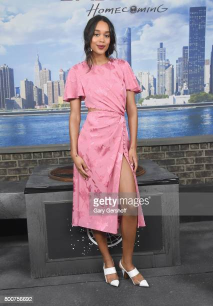 Actress Laura Harrier attends the 'Spiderman Homecoming' New York photo call at the Whitby Hotel on June 25 2017 in New York City