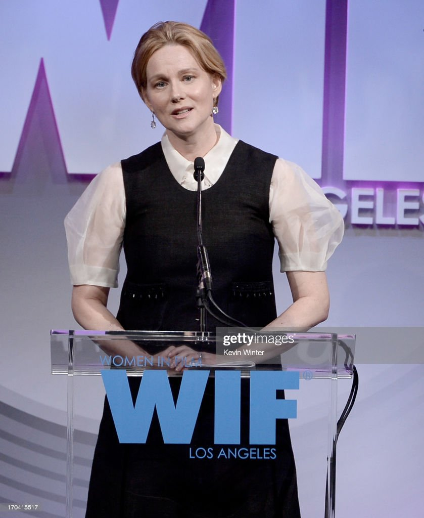 Actress <a gi-track='captionPersonalityLinkClicked' href=/galleries/search?phrase=Laura+Linney&family=editorial&specificpeople=171603 ng-click='$event.stopPropagation()'>Laura Linney</a> accepts the Crystal Award for Excellence in Film onstage during Women In Film's 2013 Crystal + Lucy Awards at The Beverly Hilton Hotel on June 12, 2013 in Beverly Hills, California.