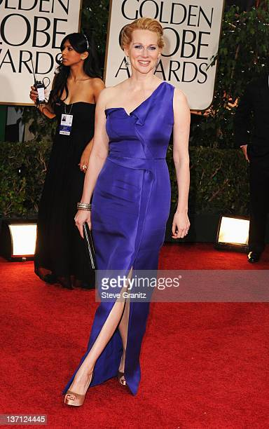 Actress Laura Linney arrives at the 69th Annual Golden Globe Awards held at the Beverly Hilton Hotel on January 15 2012 in Beverly Hills California