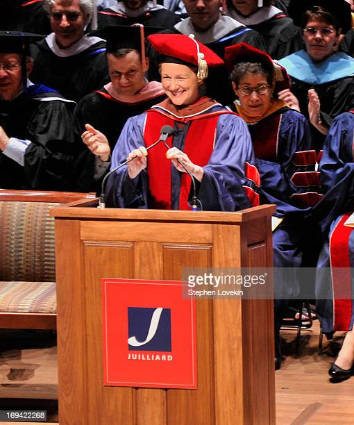 Actress Laura Linney delivers the commencement address at Juilliard's 108th Commencement Ceremony at Lincoln Center on May 24 2013 in New York City