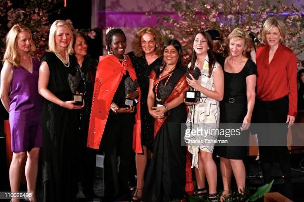 Actress Laura Linney honoree Elizabeth Smart Ambassador Shirin R TahirKheli honoree Kakenya Ntaiya host Diane von Furstenberg honorees Sohini...