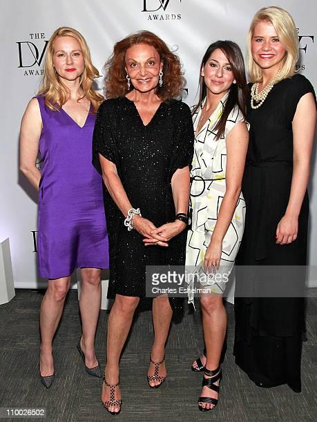 Actress Laura Linney host Diane von Furstenberg honorees Taryn Davis and Elizabeth Smart attend the 2nd Annual Dillervon Furstenberg Awards at The...