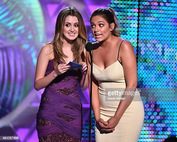 Actress Laura Marano and blogger Bethany Mota speak onstage during the Teen Choice Awards 2015 at the USC Galen Center on August 16 2015 in Los...