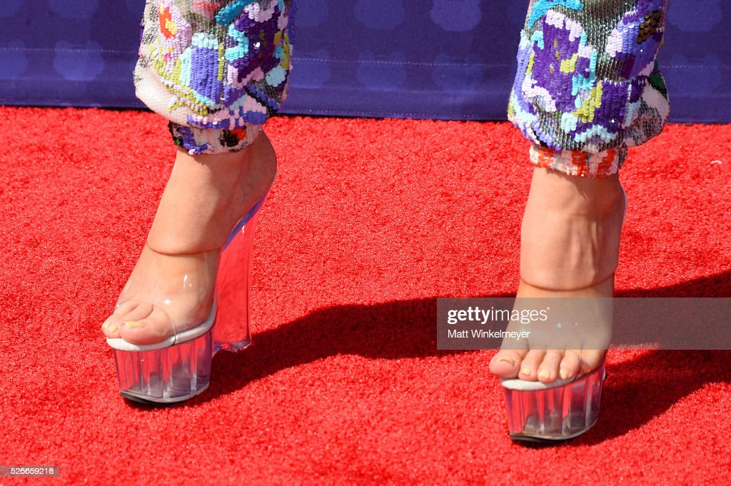 Actress Laura Marano, shoe detail, attends the 2016 Radio Disney Music Awards at Microsoft Theater on April 30, 2016 in Los Angeles, California.