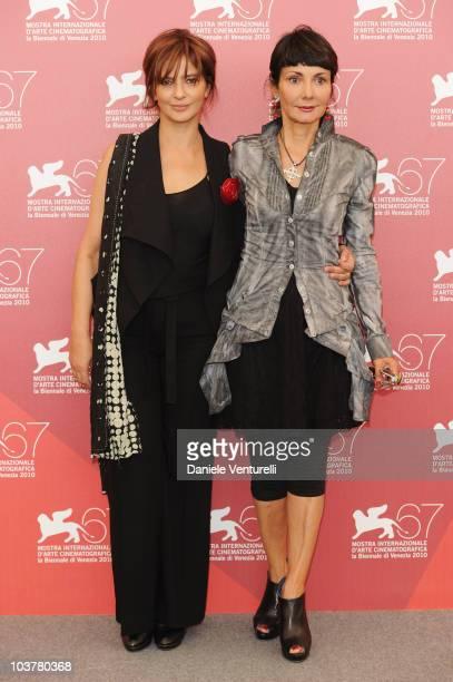 Actress Laura Morante and director Elisabetta Sgarbi attends the 'Se Hai Una Montagna Di Neve Tienila All'Ombra' photocall at the Palazzo del Casino...