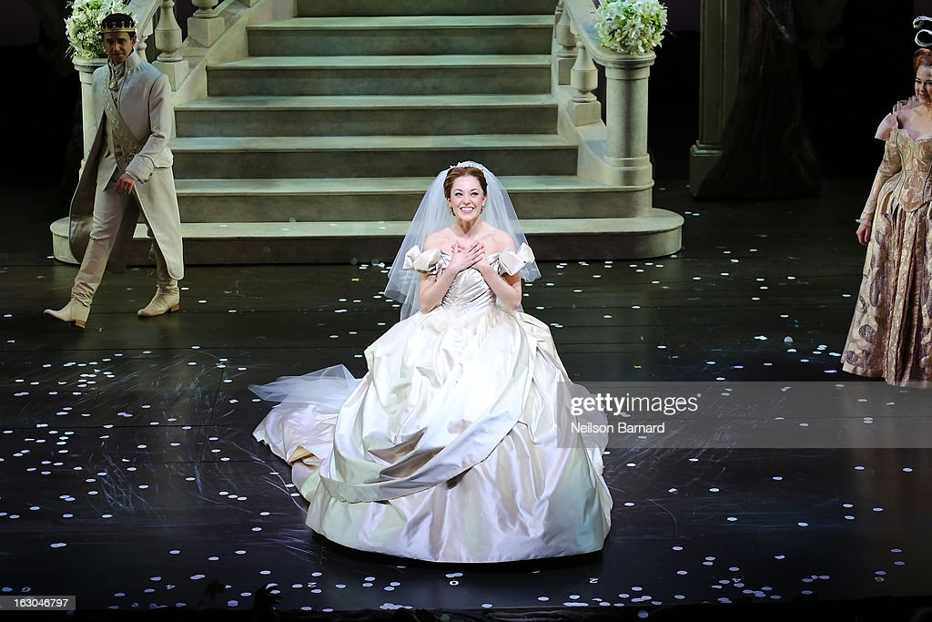Actress <a gi-track='captionPersonalityLinkClicked' href=/galleries/search?phrase=Laura+Osnes&family=editorial&specificpeople=4213655 ng-click='$event.stopPropagation()'>Laura Osnes</a> on stage at the 'Cinderella' Broadway Opening Night curtain call at Broadway Theatre on March 3, 2013 in New York City.