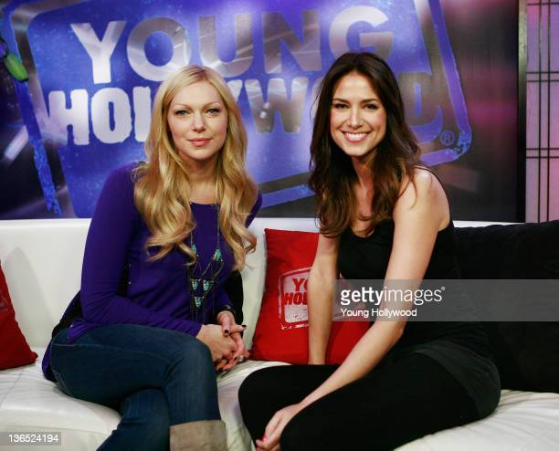 Actress Laura Prepon and host Nikki Novak at the Young Hollywood Studio on January 6 2012 in Los Angeles California