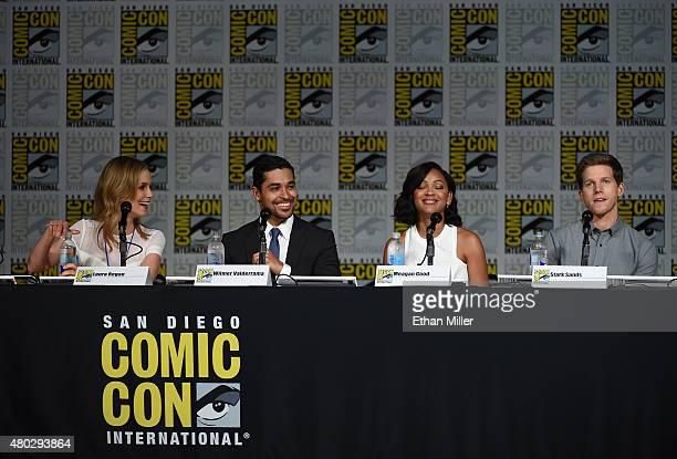 Actress Laura Regan actor Wilmer Valderrama actress Meagan Good and actor Stark Sands speak onstage at the 'Minority Report' panel during ComicCon...