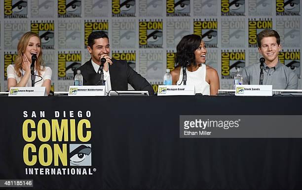 Actress Laura Regan actor Wilmer Valderrama actress Meagan Good and actor Stark Sands attend the 'Minority Report' panel during ComicCon...