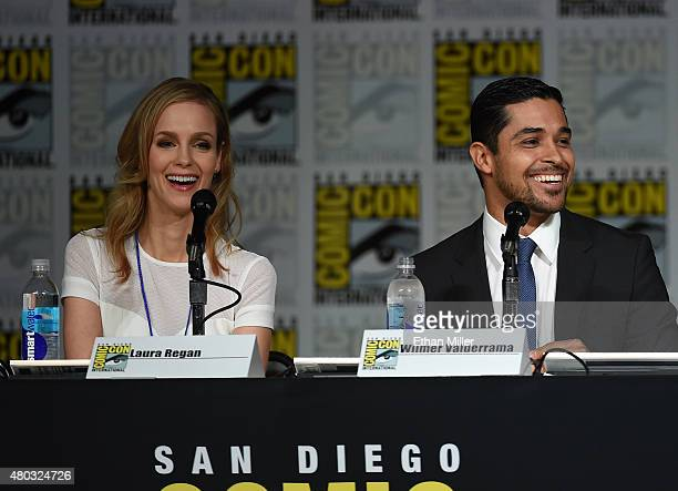 Actress Laura Regan and actor Wilmer Valderrama speak onstage at the 'Minority Report' panel during ComicCon International 2015 at the San Diego...
