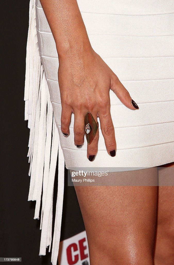 Actress Laura Soares (fashion detail) arrives at the 2013 ESPY Awards - After Party at The Palm on July 17, 2013 in Los Angeles, California.