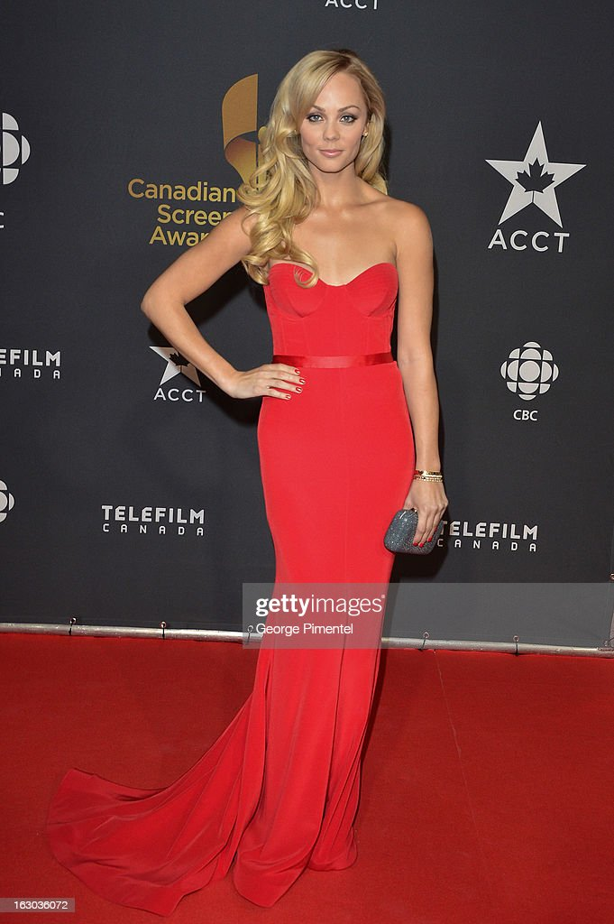 Actress Laura Vandervoort arrives at the Canadian Screen Awards at the Sony Centre for the Performing Arts on March 3, 2013 in Toronto, Canada.