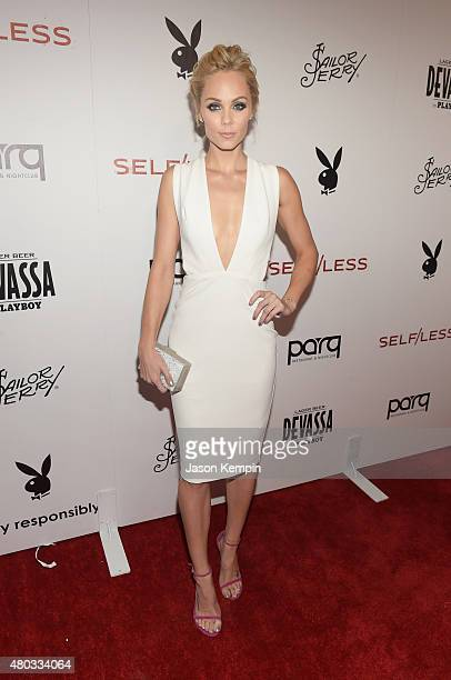 Actress Laura Vandervoort attends Playboy and Gramercy Pictures' Self/less party during ComicCon weekend at Parq Restaurant Nightclub on July 10 2015...