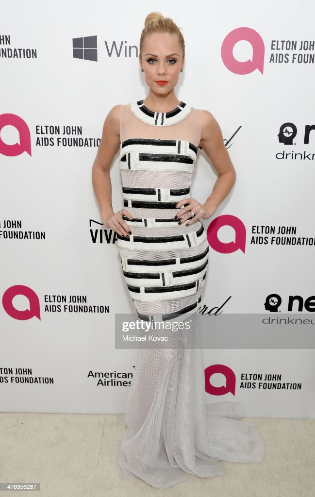 Actress <a gi-track='captionPersonalityLinkClicked' href=/galleries/search?phrase=Laura+Vandervoort&family=editorial&specificpeople=4436690 ng-click='$event.stopPropagation()'>Laura Vandervoort</a> attends the 22nd Annual Elton John AIDS Foundation Academy Awards Viewing Party at The City of West Hollywood Park on March 2, 2014 in West Hollywood, California.