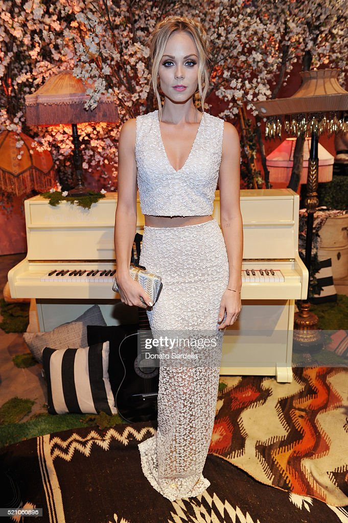 Actress <a gi-track='captionPersonalityLinkClicked' href=/galleries/search?phrase=Laura+Vandervoort&family=editorial&specificpeople=4436690 ng-click='$event.stopPropagation()'>Laura Vandervoort</a> attends the alice + olivia by Stacey Bendet Los Angeles Runway Show at NeueHouse Los Angeles on April 13, 2016 in Hollywood, California.
