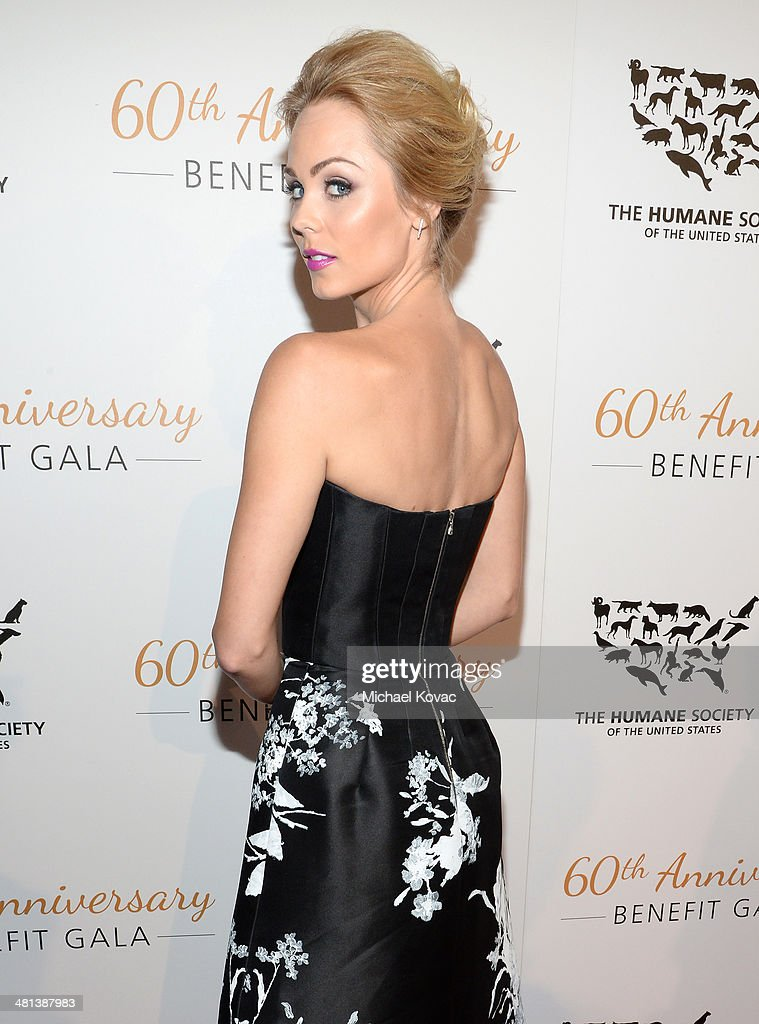 Actress Laura Vandervoort attends the Humane Society of The United States 60th Anniversary Gala at The Beverly Hilton Hotel on March 29 2014 in...