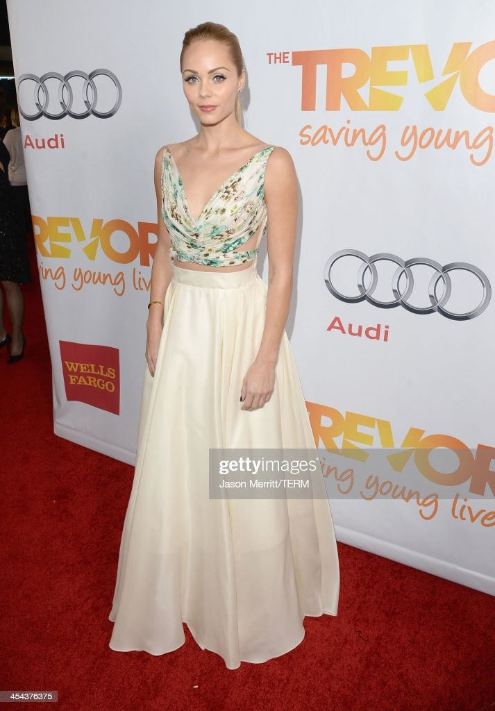 Actress <a gi-track='captionPersonalityLinkClicked' href=/galleries/search?phrase=Laura+Vandervoort&family=editorial&specificpeople=4436690 ng-click='$event.stopPropagation()'>Laura Vandervoort</a> attends 'TrevorLIVE LA' honoring Jane Lynch and Toyota for the Trevor Project at Hollywood Palladium on December 8, 2013 in Hollywood, California.