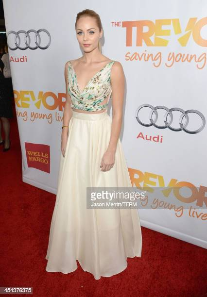 Actress Laura Vandervoort attends 'TrevorLIVE LA' honoring Jane Lynch and Toyota for the Trevor Project at Hollywood Palladium on December 8 2013 in...