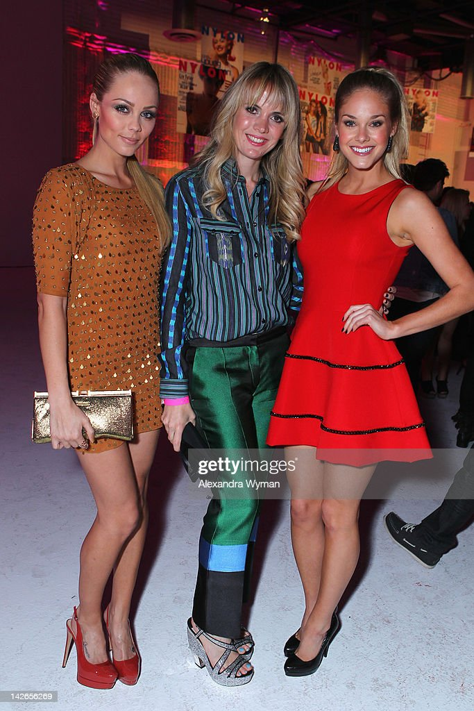 Actress <a gi-track='captionPersonalityLinkClicked' href=/galleries/search?phrase=Laura+Vandervoort&family=editorial&specificpeople=4436690 ng-click='$event.stopPropagation()'>Laura Vandervoort</a>, costume Designer Sophia Banks Coloma and actress Abigail Klein attend the NYLON Magazine 13th Anniversary Celebration Presented by Beadhead by Tiji at Smashbox West Hollywood on April 10, 2012 in West Hollywood, California.