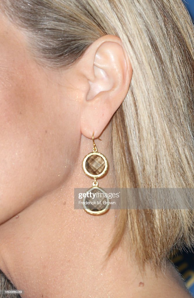 Actress Laura Wright (jewelry detail) attends the 65th Annual Directors Guild Of America Awards at Ray Dolby Ballroom at Hollywood & Highland on February 2, 2013 in Los Angeles, California.