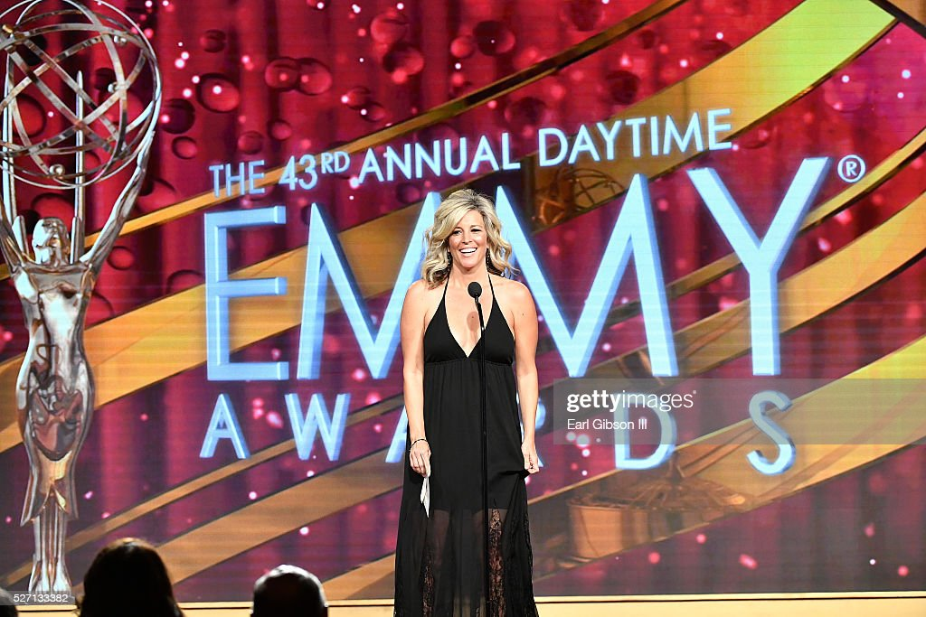 Actress Laura Wright presents on stage at the 43rd Annual Daytime Emmy Awards at the Westin Bonaventure Hotel on May 1, 2016 in Los Angeles, California.