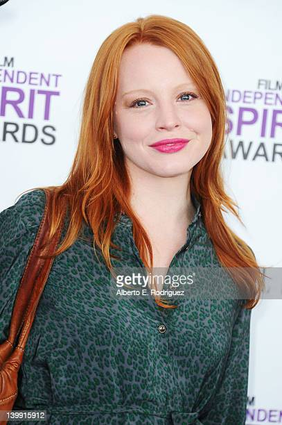 Actress Lauren Ambrose arrives at the 2012 Film Independent Spirit Awards on February 25 2012 in Santa Monica California