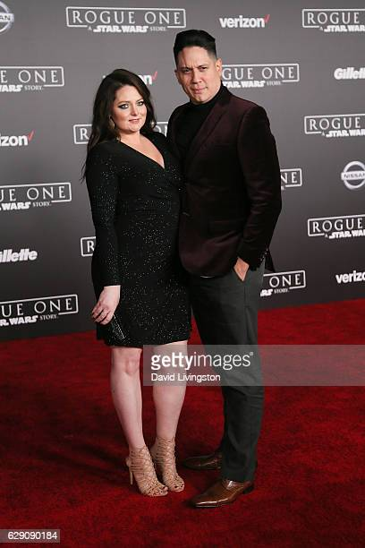 Actress Lauren Ash and guest arrive at the premiere of Walt Disney Pictures and Lucasfilm's 'Rogue One A Star Wars Story' at the Pantages Theatre on...