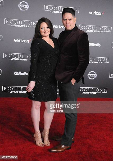Actress Lauren Ash and guest attend the premiere of Walt Disney Pictures and Lucasfilms' 'Rogue One A Star Wars Story' at the Pantages Theatre on...